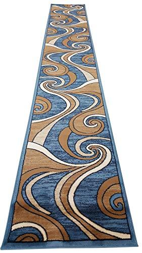 Bellagio Modern Long Contemporary Runner Area Rug Blue Swirl Design 144 (32 Inch X 15 Feet 10 Inch)
