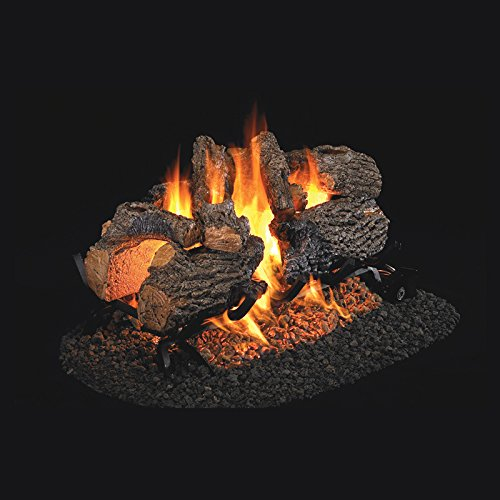 Real Fyre 30-inch Charred Oak See-Thru Vented Gas Logs Bundled with G45 See-Thru Burner Kit (Natural Gas) (Natural See Vented Thru)