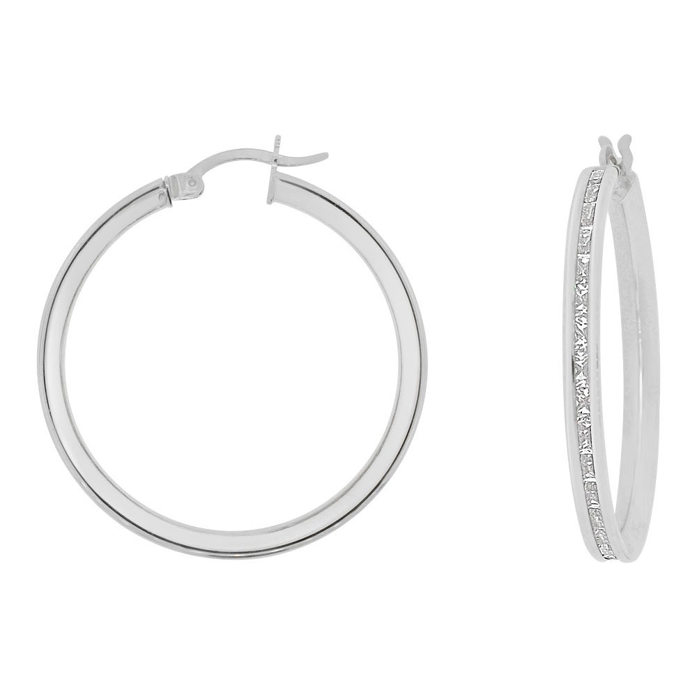 14k Gold White Rhodium, Round 3mm Wide Channel Set Created CZ Earring 25mm Inner Snap Down by GiveMeGold