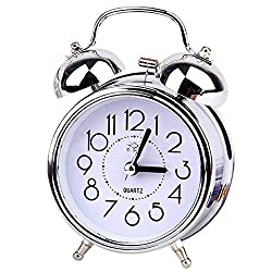 TOOGOO(R) Classic Retro Mute Quartz Double Bell Alarm Clock Movement Bedside WIth Night Light And Loud Alarm,Silver