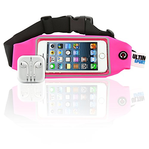 Ultimate Sports Pro Running Waist Pack with Earbuds for Women Men – Pink Lycra Fitness Exercise Fanny Expandable Belt Best as Sweat Resistant Money Bag and Runner Travel Pouch – 4.7 Inches