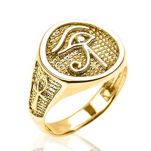 Eye of Horus Ring - Ancient Egyptian Eye of Ra Ring - Sterling Silver, Yellow Gold, Rose Gold, White Gold | Egyptian Jewelry | Ankh ring (Eye Of Ra And Eye Of Horus)