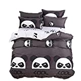 Kimko Child Panda Bedding Set-4Pcs Kids Cartoon 3D Oil Print Lightweight White and Black Panda Animal Pattern -1 Duvet Cover Set + 1 Bed Sheet + 2 Pillowcases (Full)