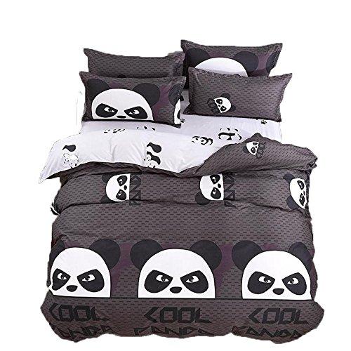 Kimko Child Panda Bedding Set-4Pcs Kids Cartoon 3D Oil Print Lightweight White and Black Panda Animal Pattern -1 Duvet Cover Set + 1 Bed Sheet + 2 Pillowcases -