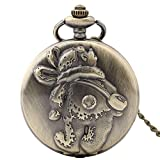 Shirleyle Carved Vintage Quartz Pocket Watch Bronze Retro Watch With Long Chain For Women Men
