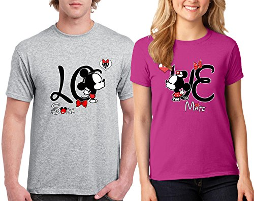 Mickey and Minnie Love Soul Mate Design Couple Round Neck T-Shirt Tee Shirt 1(Grey-Pink,Men-L/Women-S) -
