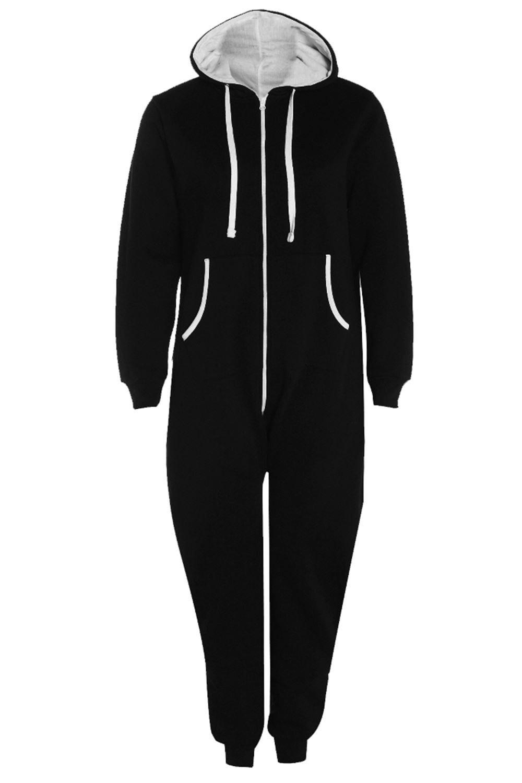 Womens Ladies All In One Hooded Kangaroo Pocket Zip Up Playsuit Jumpsuit Onesie