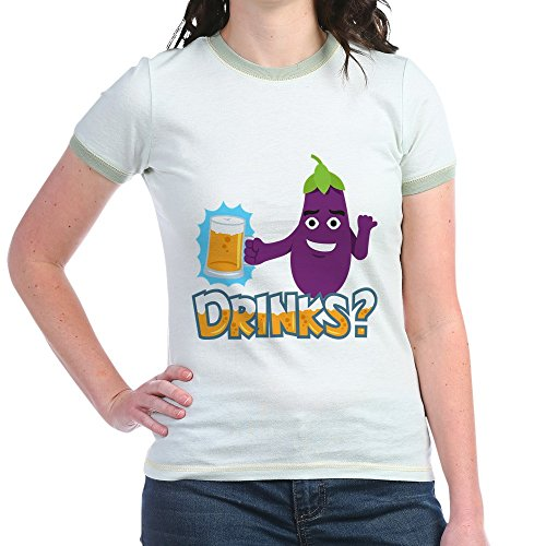 CafePress Eggplant Drinks Beer Jr. Ringer T Shirt Jr. Ringer T-Shirt, Slim Fit 100% Cotton Ringed Shirt Mint/Avocado ()