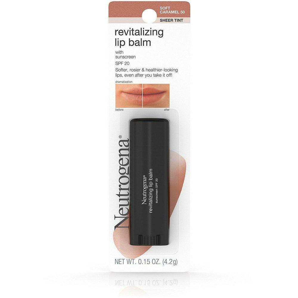Neutrogena Revitalizing Lip Balm SPF 20, Soft Caramel [50], 0.15 oz (Pack of 3)