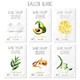 Blanc Therapy Face Moisturizer Facial Sheet Mask Infused With Aloe,TeaTree,Avocado,Vitamin,Honey & EggWhite 6 Nutritional Essence Face Masks