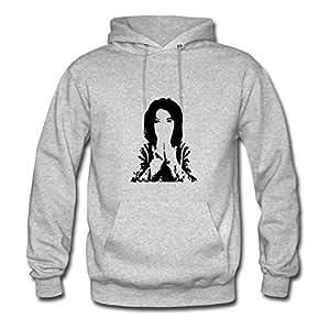 Women Hoodies Casual Praying Girl Image X-large With Organic Cotton Grey