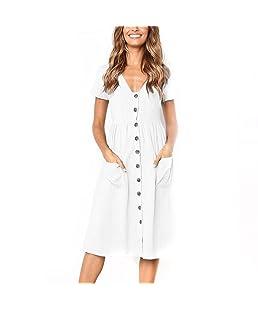 👗Womens Dresses for Work,Teen Girls Short Sleeve Buttons V Neck Midi Dresses Summer Dress Beach Dresses with Pockets White