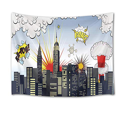 HVEST City Tapestry Buildings with Clouds in Sky Wall Hanging Blankets for Bedroom Living Room Dorm Decor,80Wx60H inches