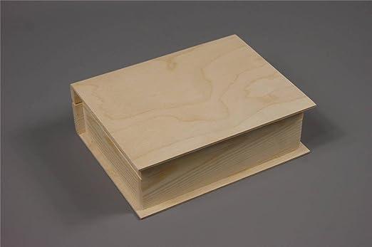 PLAIN madera caja de madera con bisagra joyas tamaño grande caja ...