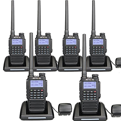Retevis RT87 Two Way Radios IP67 Waterproof 128 Channels VOX Scan Security Long Range Walkie Talkies (Black,6 Pack) with FM Function