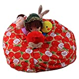Toy Doll Storage Bag,Rosiest Kids Stuffed Animal Plush Toy Storage Bean Bag Soft Pouch Stripe Fabric Chair Red (F)