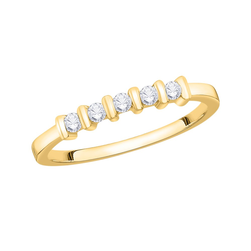 Size-9 Diamond Wedding Band in 10K Yellow Gold 1//6 cttw, G-H,I2-I3