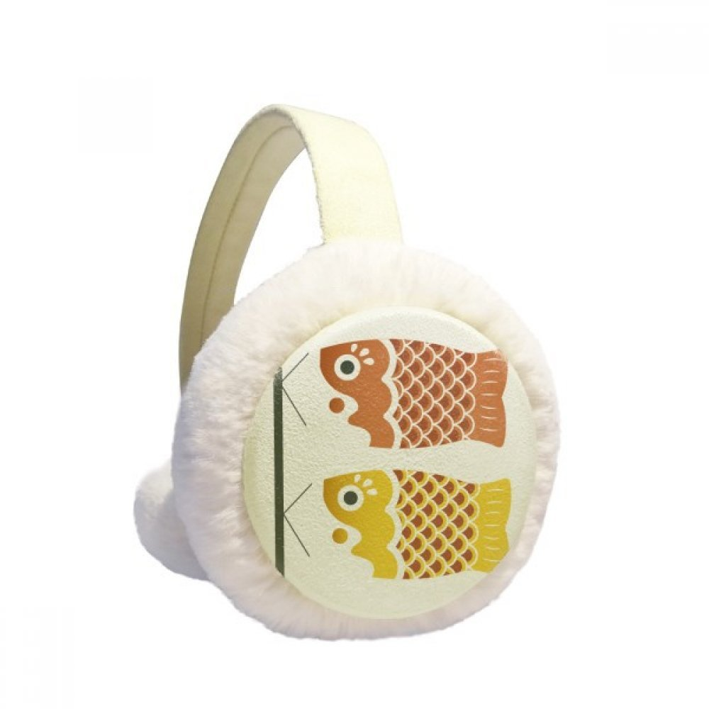 Local Japanese Cultual Fish Flag Winter Earmuffs Ear Warmers Faux Fur Foldable Plush Outdoor Gift