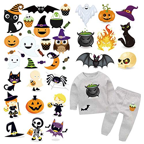 Cute Diy Halloween Decorations (Halloween Iron On Patches Kids Heat Transfer Stickers Halloween Theme Appliques Decoration with Cute Ghosts Monsters Pumpkin Owl Cat Spider Witch Design for DIY Halloween Costume,Baby Clothes(3)