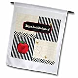 3dRose fl_167277_1 Rosh Hashanah, Red Apple, Gold Bees, Stripes, Dots, and Leaves Garden Flag, 12 by 18-Inch