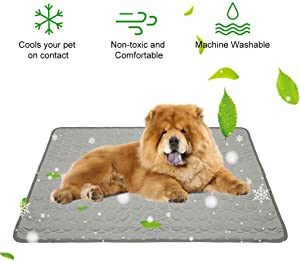 Jaaytct Cooling Mat for Dogs Cats Ice Silk Pet Self Cooling Pad Blanket Self-Cooling Mattress Pad for Pet Beds/Kennels/Couches/Floors/Car Seats(Gray)
