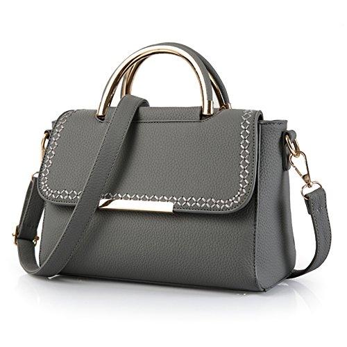 yuntun-spring-and-summer-new-european-litchi-cikou-pu-leather-handbag-shoulder-diagonal-packetgray