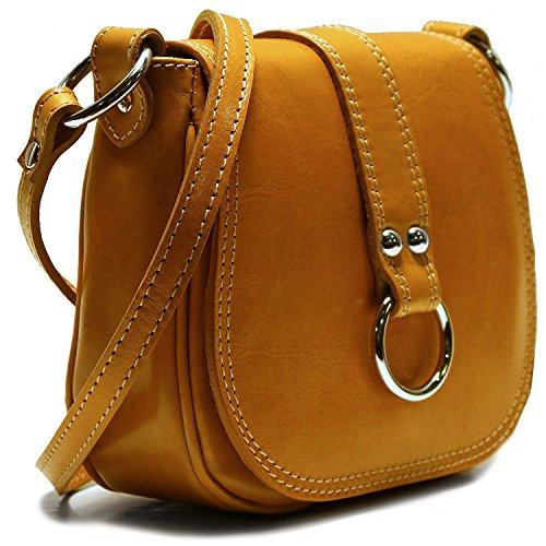 Calfskin Purse Bag - Floto Women's Saddle Bag in Yellow Italian Calfskin Leather - handbag shoulder bag