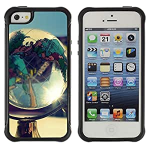 ZAAAZ Rugged Armor Slim Protection Case Cover Durable Shell - Globe Shine - Apple Iphone 5 / 5S