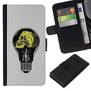 Be-Star la tarjeta de Crédito Slots PU Funda de cuero Monedero caso cubierta de piel Para Samsung Galaxy A3 ( Grey Yellow Light Bulb Yellow Idea )