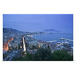 Great BIG Canvas Poster Print entitled High angle view of a city at dusk, Mt Vesuvius, Naples, Campania, Italy