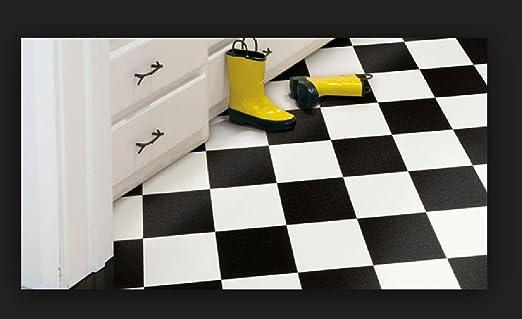 Thaisan7 Size 12 Black White Checkered Checkerboard Garage Kitchen Vinyl Flooring 3 Sizes Livable Home Size 12 X28 Kitchen Dining