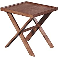 LSCING Simple Solid Wood Square End Side Coffee Small Table, Walnut