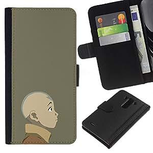 """A-type (Joven dobladora de aire"""") Colorida Impresión Funda Cuero Monedero Caja Bolsa Cubierta Caja Piel Card Slots Para LG G3"""