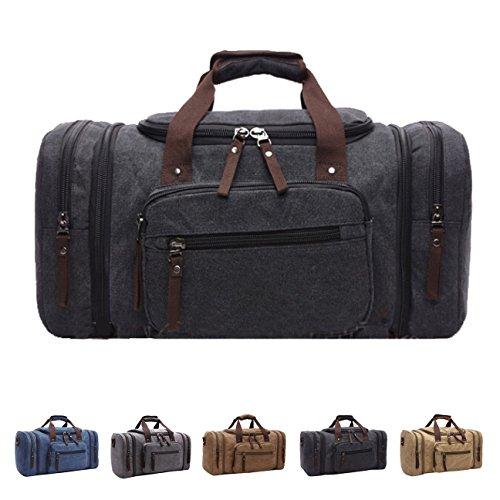 Queenie – Large Unisex Canvas Overnight Travel Tote Luggage Weekend Duffel Bag Shoulder Bag Gym Bag