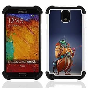"""SAMSUNG Galaxy Note 3 III / N9000 / N9005 - 3 en 1 impreso colorido de Altas Prestaciones PC Funda chaqueta Negro cubierta gel silicona suave (Monster Cgi Computer Graphics extranjero"""")"""