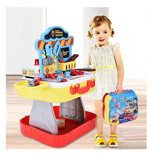Halloween Work Activities (Sallymonday Imported 3 in 1 Construction Worker & Kitchen Cooking Work Bench Toy, Portable Tools Set Gift Educational Toy for Halloween Activities Holidays Christmas 3+ Age Kids)