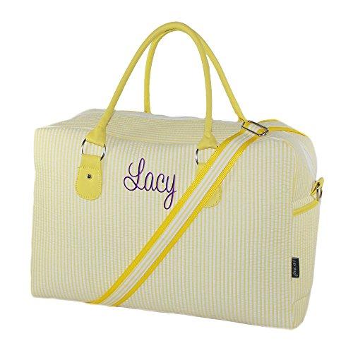 Yellow Seersucker (Personalized Yellow Seersucker Womens Overnight Duffle Bag)