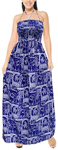 LA LEELA Encubrir Las Mujeres Ropa de Playa Vestido de Corte Largo Tubo Largo Likre Suave Halter Maxi Azul_r609