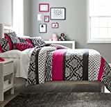 zebra bedspread full - Teen Girls Hot Pink Black White Bedding Comforter Damask Zebra FULL Bedspread Set + 2 Shams + Adorable Throw Pillow + Home Style Sleep Mask Polka Dot Fuchsia Paris Comforters Sets for Girl Kids