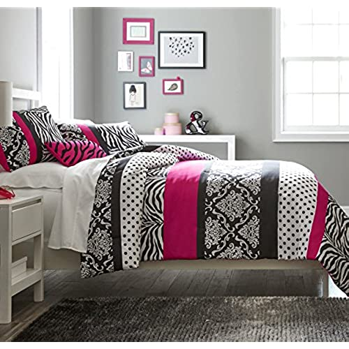 Teen Girls Hot Pink Black White Bedding Comforter Set Damask Zebra  Bedspread +Matching Sham+ Decorative Throw Pillow + Home Style Sleep Mask  Polka Dot ...