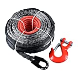 "95' x 3/8"" STRONG Synthetic Winch Rope Line Cable Heat Guard Sleeve + RED Hook ATV UTV KFI Truck Recovery Vehicle"