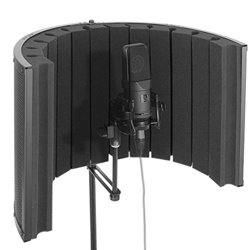 Pyle Mini Portable Vocal Recording Booth - Universal Standard Microphone with Isolation Noise Filter Reflection Shield for Recording Studio Quality Audio - Dual  Acoustic Foam Soundproof (Portable Recording Studios)