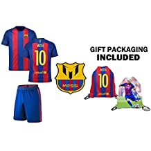 Fan Kitbag Messi #10 Barcelona Youth Home / Away Soccer Jersey & Shorts Kids Premium Gift Kitbag ✮ BONUS Messi #10 Drawstring Backpack