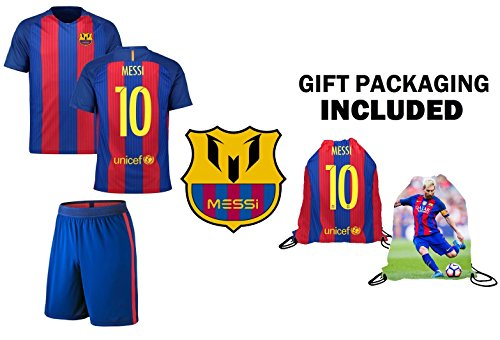 Fan Kitbag Messi #10 Barcelona Youth Home / Away Soccer Jersey & Shorts Kids Premium Gift Kitbag ✮ BONUS Messi #10 Drawstring Backpack (Youth Medium 8-10 years, Home Short Sleeve)
