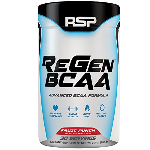 RSP Nutrition Regen BCAA - Post-Workout with Citrulline Malate, Raw Coconut Water and Electrolytes for Recovery, Pump and Hydration, Fruit Punch, 30 Servings