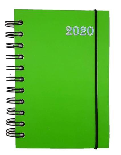 Lagom - Agenda diaria 2020 en espiral, 12 meses, formato de bolsillo, 10 x 15 cm, color VERDE