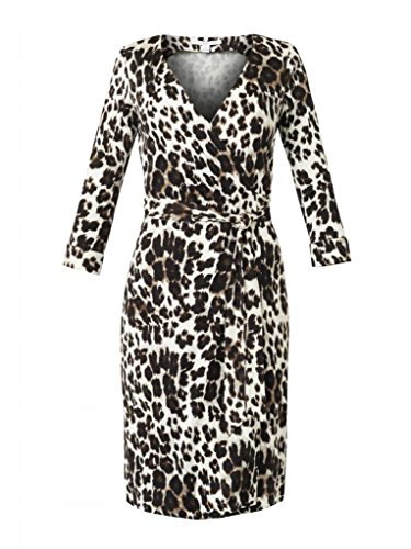 Diane von Furstenberg Women's New Julian Two Wrap Dress, Snow Cheetah Large, (Diane Silk Jersey Dress)