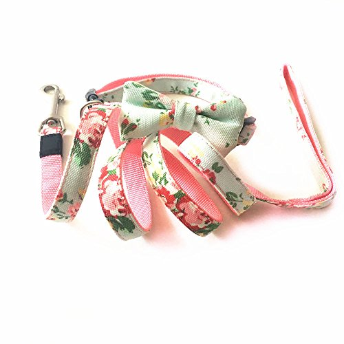 Joopet Flower Print Basic Nylon Cotton Puppy Pet Dog Collar and Leash with Bow Puppies Leads & Collars Set Available