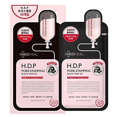 [MEDIHEAL] H.D.P Pore-Stamping Black Mask EX. Pack of 10 (Best Face Mask For Open Pores)