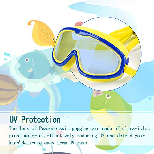 Peacoco Kids' Wide Swim Goggles, Swimming Goggles for Kids Soft Big  Silicone Frame No Leak and Comfortable Anti Fog Swimming Goggles for Girls  Boys